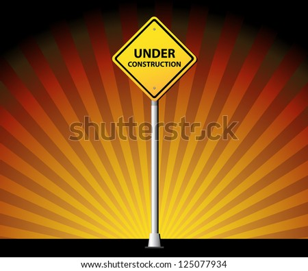 Under construction road sign on rays background - stock vector
