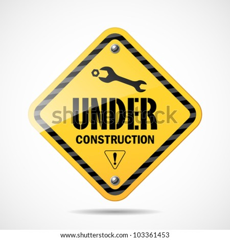 Under construction sign black and yellow, vector illustration
