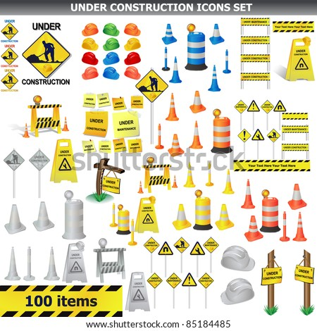 Under Construction Sign Collection. Around 100 object, icon isolated on white VECTOR - stock vector