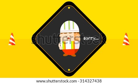 Under construction sign, cute cartoon worker character apologizing, road barrier, street traffic safety cones icon with stripe pattern, isolated object vector. Rounded corner square shape background. - stock vector