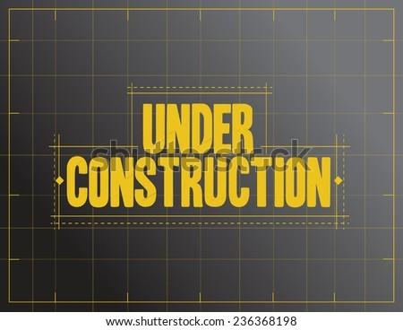 under construction sign illustration design over a black background - stock vector