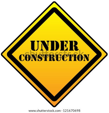 Under construction sign on a white background