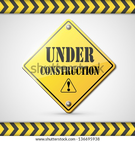 under construction sign on white eps10 - stock vector