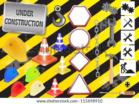 Under Construction Sign - vector - stock vector