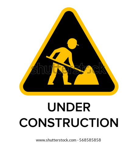 Under Construction Sign Man Digging Ground Stock Vector
