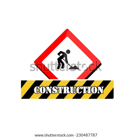 Under construction signal over color background