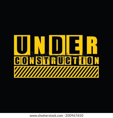 under construction text on black. Vector illustration - stock vector
