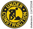 under construction (under construction sign with man, under construction icon, under construction symbol) - stock vector