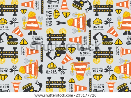 under construction vector pattern, freehand drawing vector Illustration - stock vector
