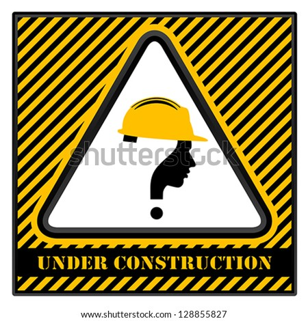 under construction with question mark human head symbol, vector