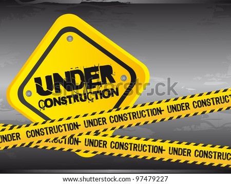under construction with yellow tape, grunge. vector illustration