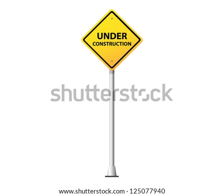 Under construction yellow road sign - stock vector