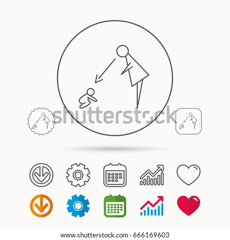 under nanny supervision icon babysitting care sign mother watching baby symbol calendar