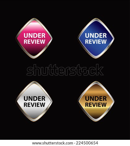 Under review icon tag set vector  - stock vector