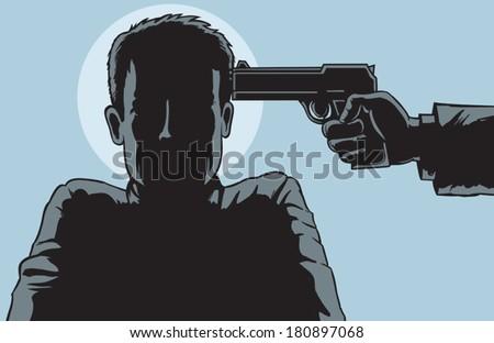 Under the gun outline - stock vector
