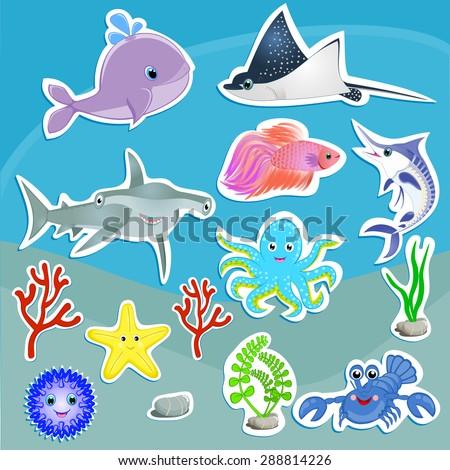 under sea animals vector graphic cute stock vector royalty free