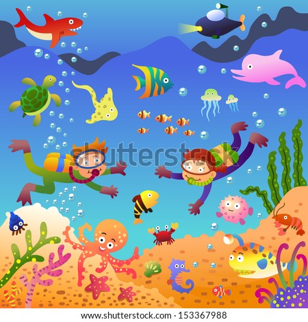 Under the sea.EPS10 File - simple Gradients, no Effects, no mesh, no Transparencies.All in separate group for easy editing. - stock vector