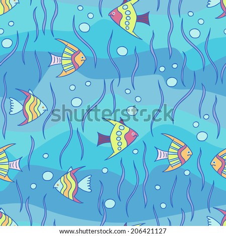 Under the sea. Nautical vector seamless pattern.