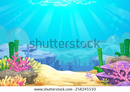 under the sea vector background - stock vector