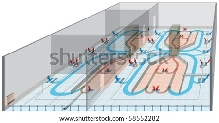 Underfloor heating and ventilation - stock vector