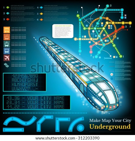 Underground infographic with sample lines of metro and map. Sample station display letters numbers  - stock vector