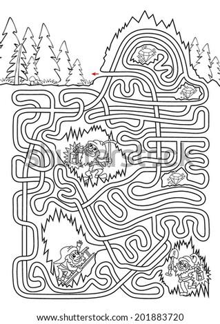 Underground maze for kids - black & white. Three dwarves were lost at underground. Help them to get outside and find three diamonds.  - stock vector