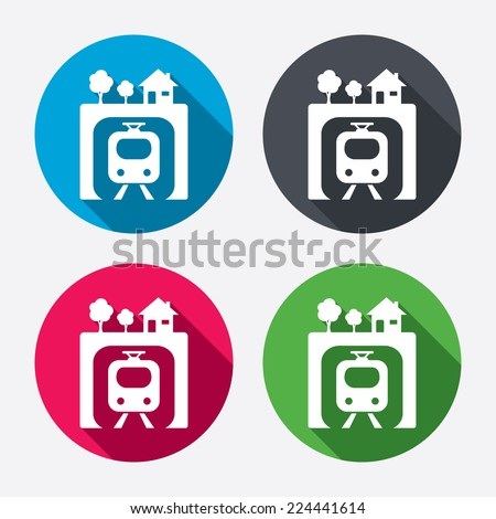 Underground sign icon. Metro train symbol. Circle buttons with long shadow. 4 icons set. Vector - stock vector