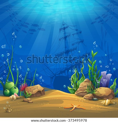 Undersea. Marine Life Landscape - the ocean and the underwater world with different inhabitants. For design websites and mobile phones, printing. - stock vector
