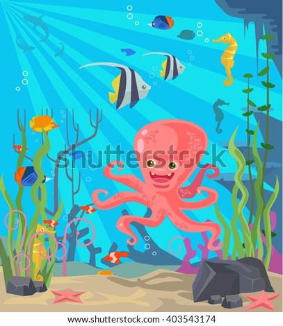 Undersea world. Vector flat cartoon illustration - stock vector