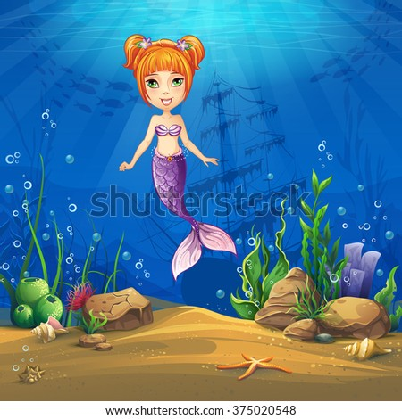 Undersea world with haired mermaid. Marine Life Landscape - the ocean and the underwater world with different inhabitants. For design websites and mobile phones, printing. - stock vector