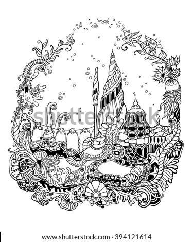 Undersea world with starfish, fish, octopus, squid, sea horse, castle. Undersea world - adult coloring page. Hand drawn Undersea world. Vector illustration. - stock vector