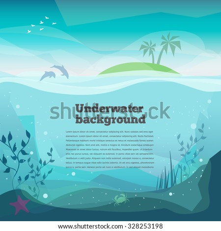 Underwater background Landscape of marine life - Island in the ocean and underwater world.. Low polygon style flat illustrations of underwater world. For web and mobile phone,print, infographics. - stock vector