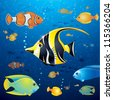 Underwater Background with Colorful Tropical Fishes. Vector - stock vector
