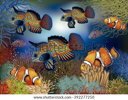 Underwater background with tropical fish, vector illustration - stock vector