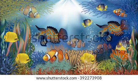 Underwater banner with tropical fish, vector illustration - stock vector