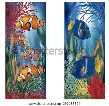 Underwater banners with clownfish, vector illustration - stock vector