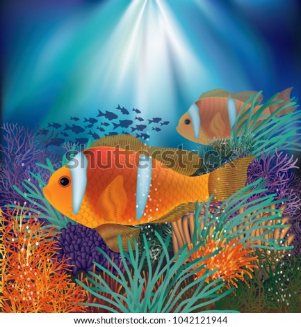 Underwater card with clownfish, vector illustration