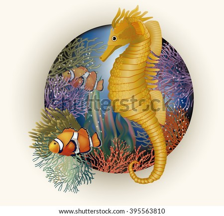 Underwater card with seahorse, vector illustration