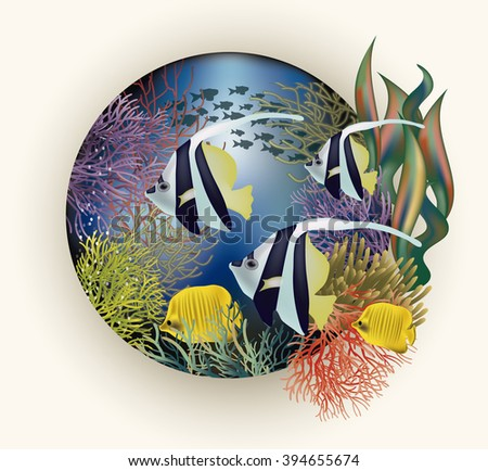 Underwater card with tropical fish, vector illustration - stock vector