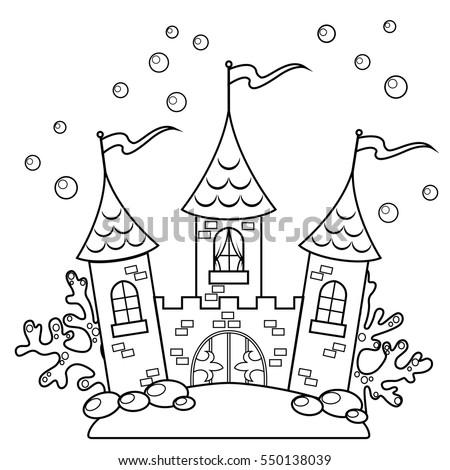 Underwater Castle Black White Vector Illustration Stock ...