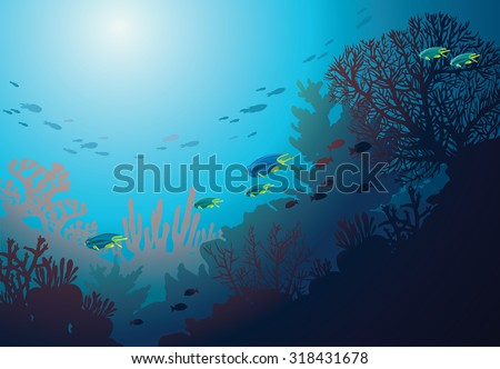 Underwater coral reef and school of fish. Vector seascape illustration. - stock vector