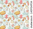 Underwater creatures cute cartoon seamless pattern - stock vector