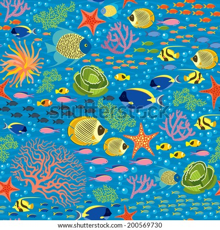 Underwater Fishes - Seamless Pattern - stock vector