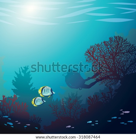 Underwater illustration - silhouette of diver and coral reef with fishes. Vector seascape image. - stock vector