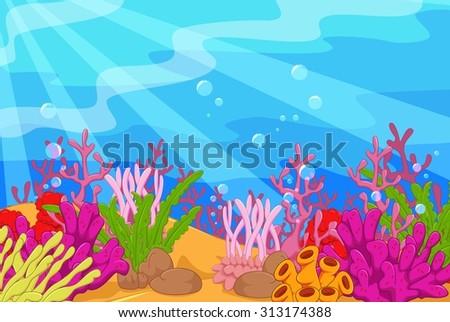 Underwater landscape - stock vector