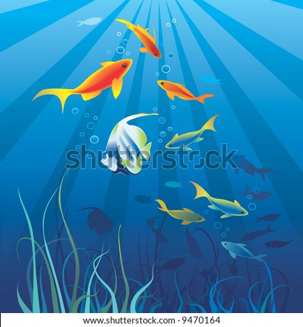 Underwater life, sea. Fish, seaweeds, rays, bubbles. Vector illustration - stock vector