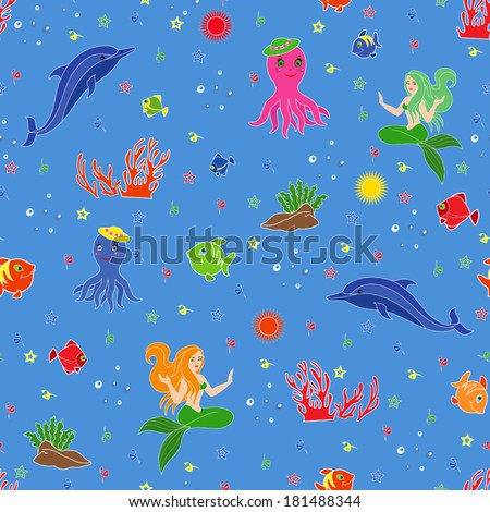 Underwater marine life. Dolphin, mermaid, octopus, fishes, coral and seaweed on the seabed. Hand drawing seamless vector illustration - stock vector