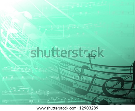 underwater music notes - stock vector