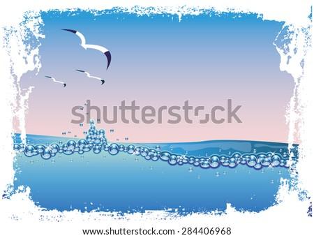 Underwater nature background, vector illustration - stock vector