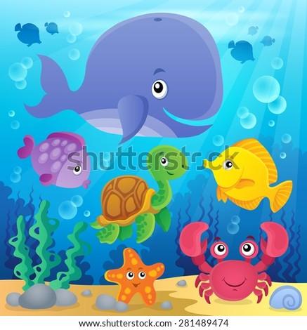 Underwater ocean fauna theme 7 - eps10 vector illustration. - stock vector